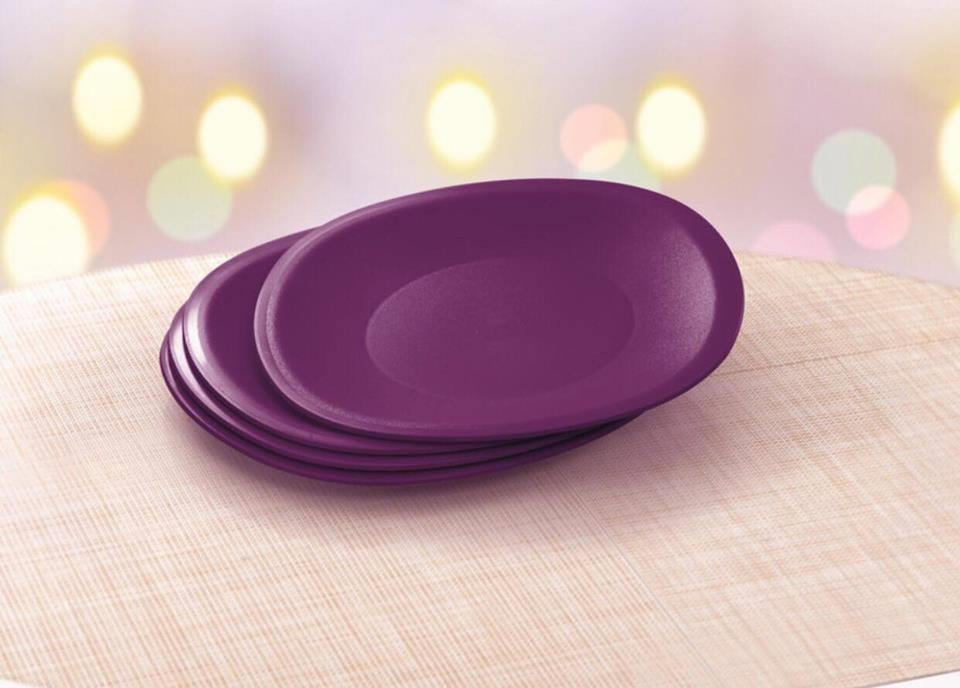 Tupperware Lady Lavender Microwaveable Plates (4)