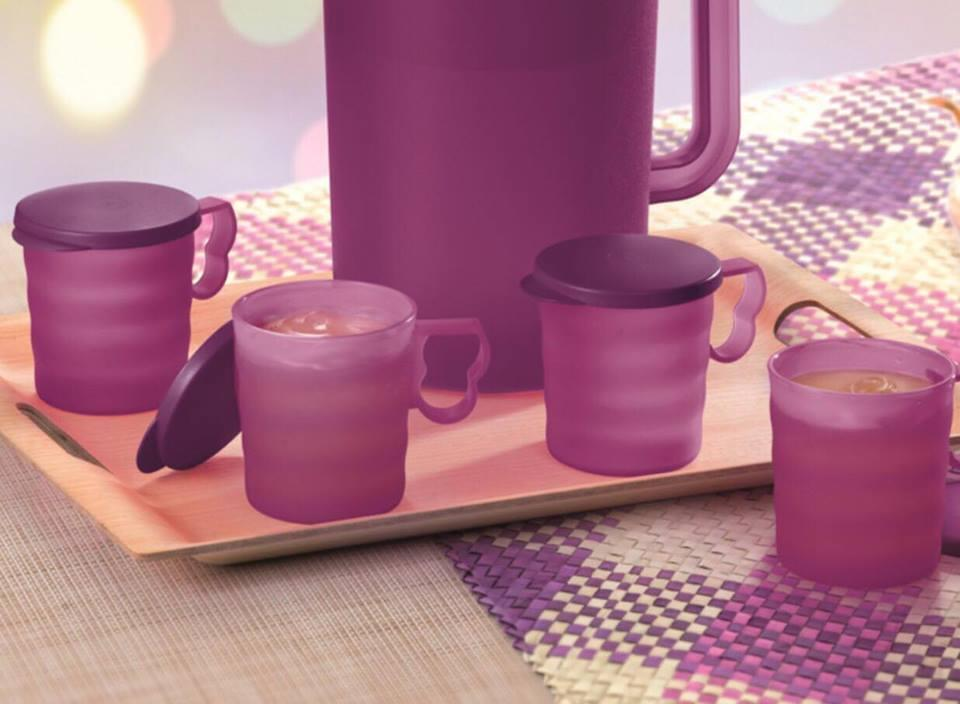 Tupperware Lady Lavender Mugs & Seals (4) 350ml