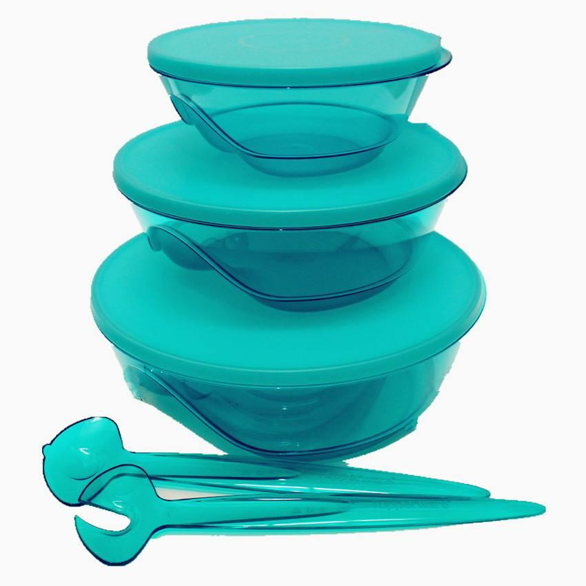 Tupperware Limited Release Level Tiffany Stack-able Bowls with Fork Sp