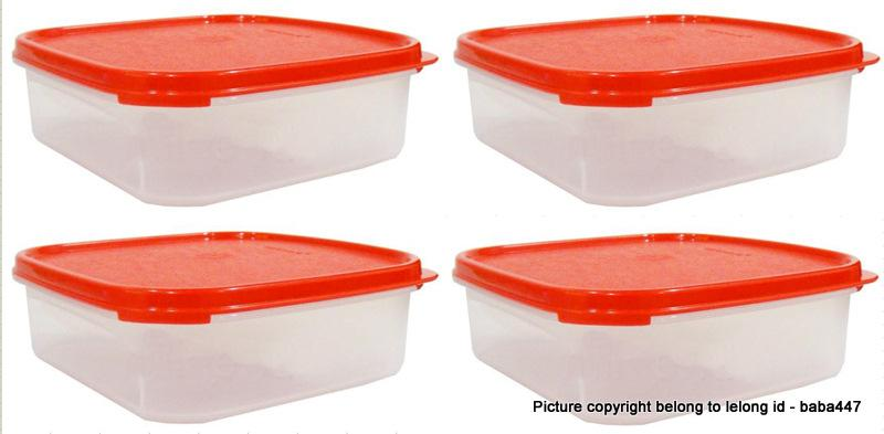 NEW Tupperware Modular Mates Square I ( 4 ) - 1.2L RED / BLACK