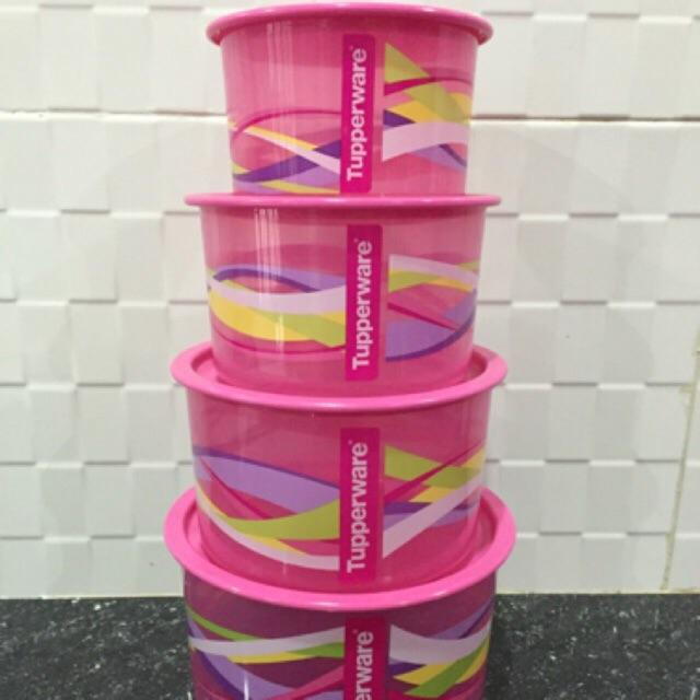 TUPPERWARE ONE TOUCH PINK TOPPER SET (4PCS)