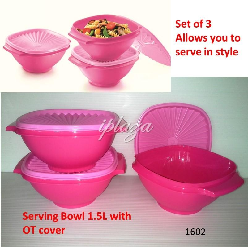 Tupperware Pink Ruby Serving Bowls 1.5L (3)