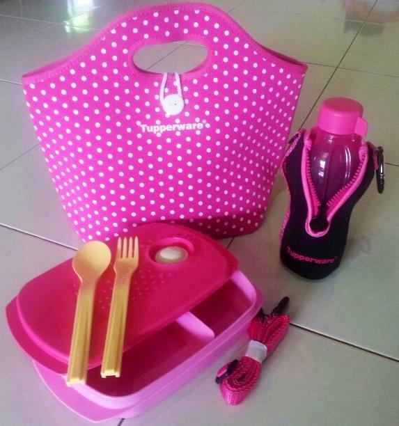 Tupperware Pretty Polkadot Lunch Set