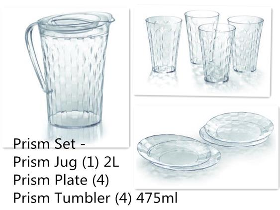 Tupperware Prism Jug, Plates & Tumblers Collection Set of 9