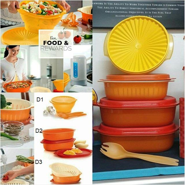 Tupperware Salad Bowl & Oval Server - Orange