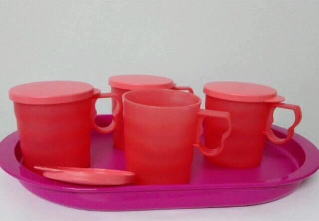 Tupperware Serving Duo - Tray (1) & Blossom Mug (4) 350ml - Guava