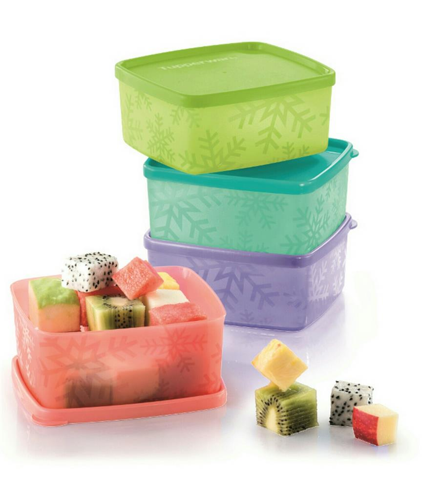 Tupperware Snowflake Square Round  (4) 400ml
