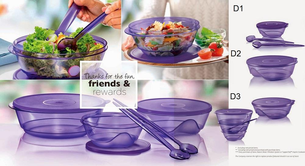 Tupperware Stackable Set (1) 1.0L / 3.5L / 2.0L - Purple