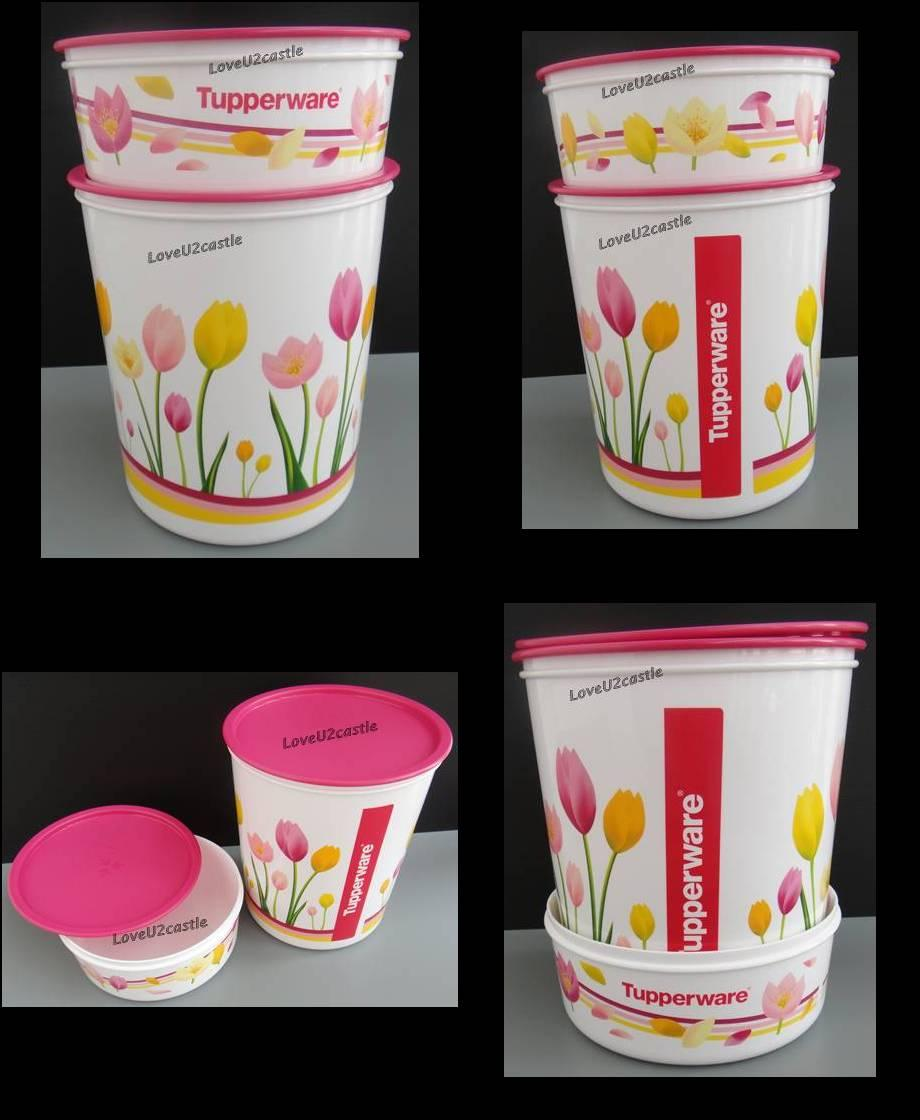 Tupperware ONE TOUCH Floral Maxi Canister 5.5L & Topper 1.75L~Free Post