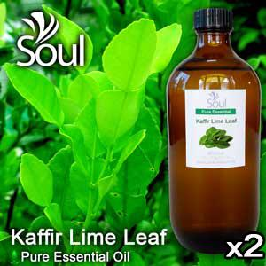 Twin Pack Pure Essential Oil Lime - Kaffir Lime Leaf - 500ml