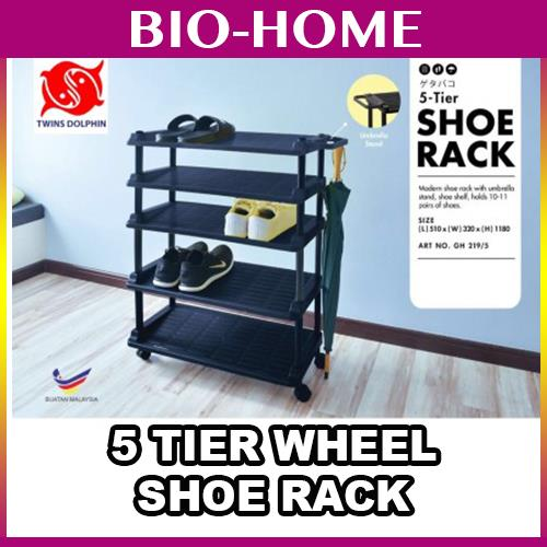 Twins Dolphin 5 Tier Shoe Rack UMBRELLA Stand WHEEL MOVABLE PORTABLE G