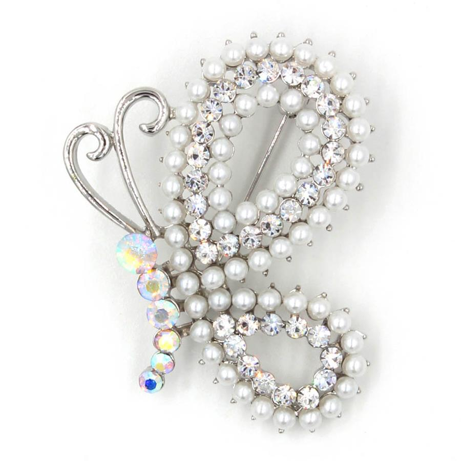 TYON Shiny Rhinestones Butterfly Brooch TYXZ062 Silver White