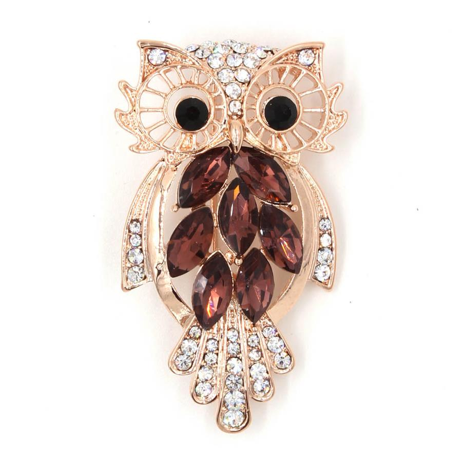 TYON Shiny Rhinestones Owl Brooch TYXZ056 Rose Gold Purple
