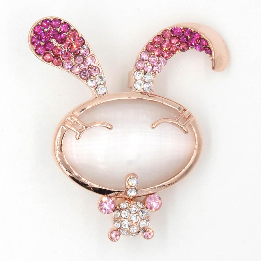 TYON Shiny Rhinestones Rabbit Brooch TYXZ051 Rose Gold Pink