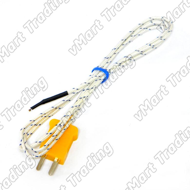 Type-K Bead Probe Thermocouple with Fiberglass Insulation [1 meter]
