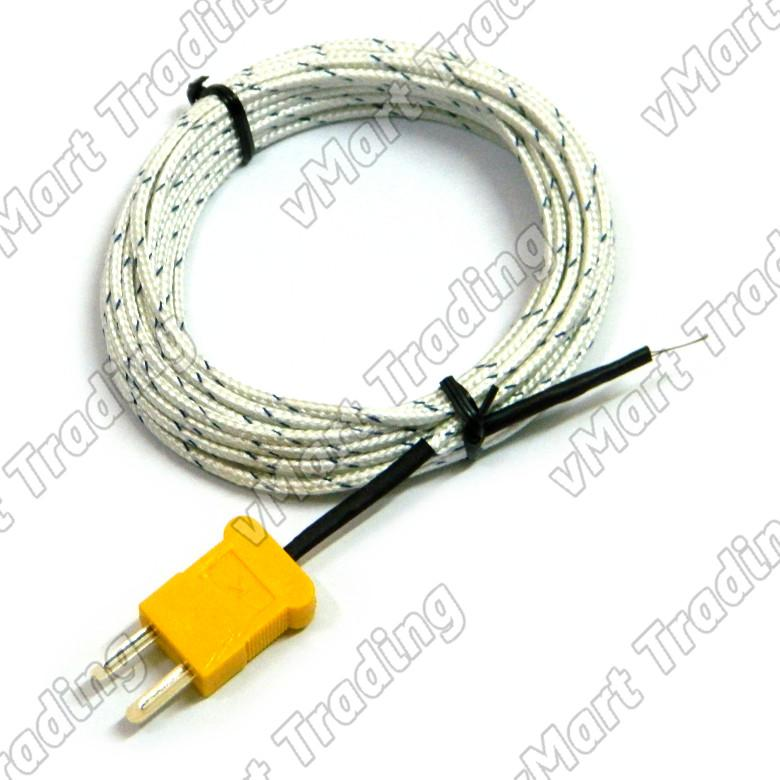 Type-K Bead Probe Thermocouple with Fiberglass Insulation [5M/10M]