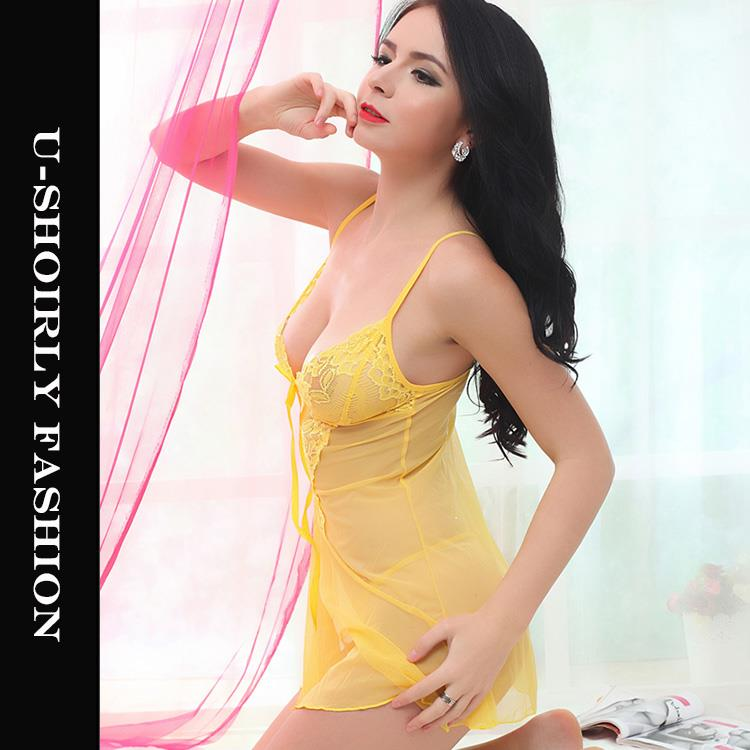 U-Shoirly Babydoll Dress + G String Sleepwear Sexy Lingerie (4 Colors)