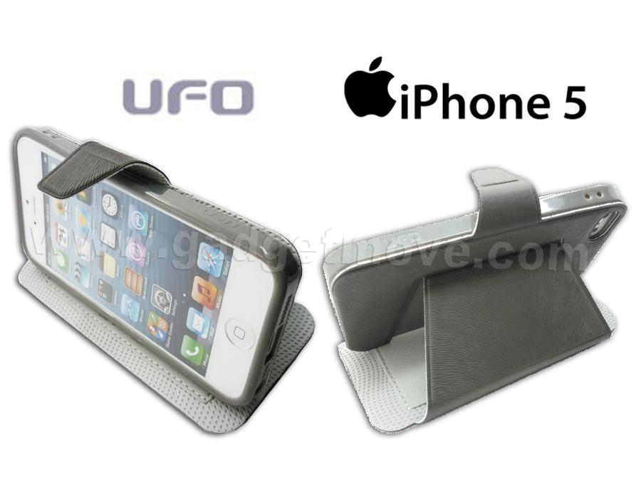 UFO Apple IPhone 5 SE 5S Standable  PU Leather Flip Wallet Case