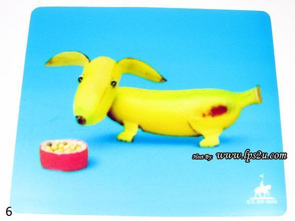 Ultra-Thin Anti Slide Surface Cloth Mouse Pad 23cm x 19cm (Banana Dog)