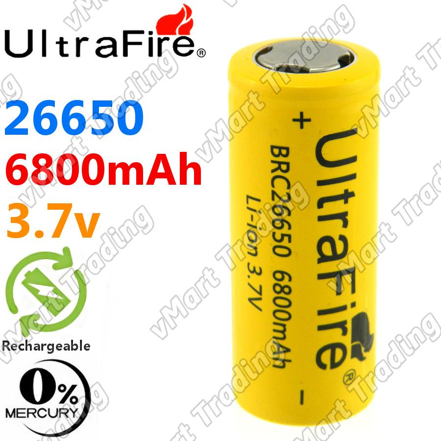 UltraFire 26650 6800mAh Rechargeable Li-ion Battery