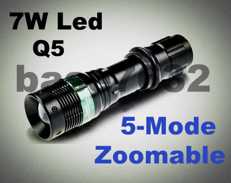 Ultrafire 5-Mode Zoom/Zoomable Q5 5W 7W Led Flashlight Torch light