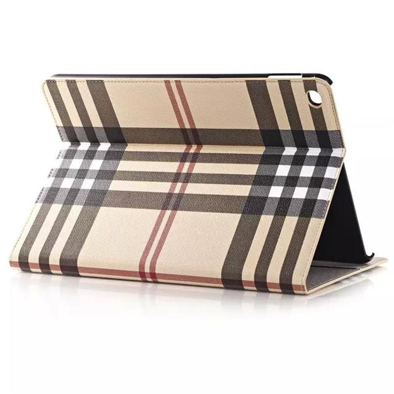 Ultrathin high quality Plaid Leather Case Stand Smart Cover for  iPad6