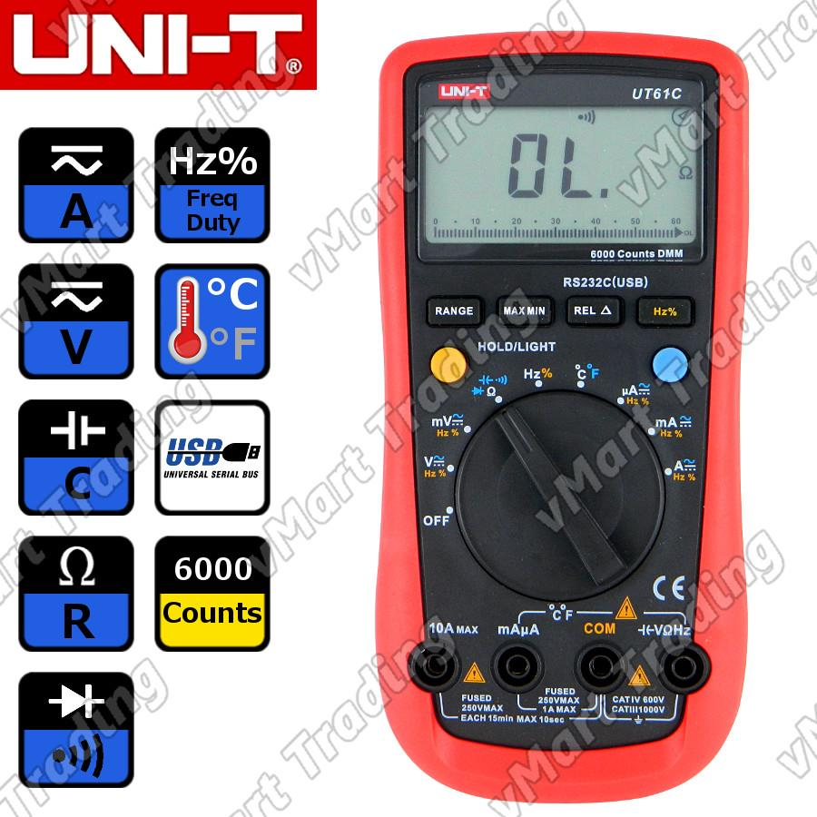 UNI-T UT61C Digital Multimeter + PC Data Logging