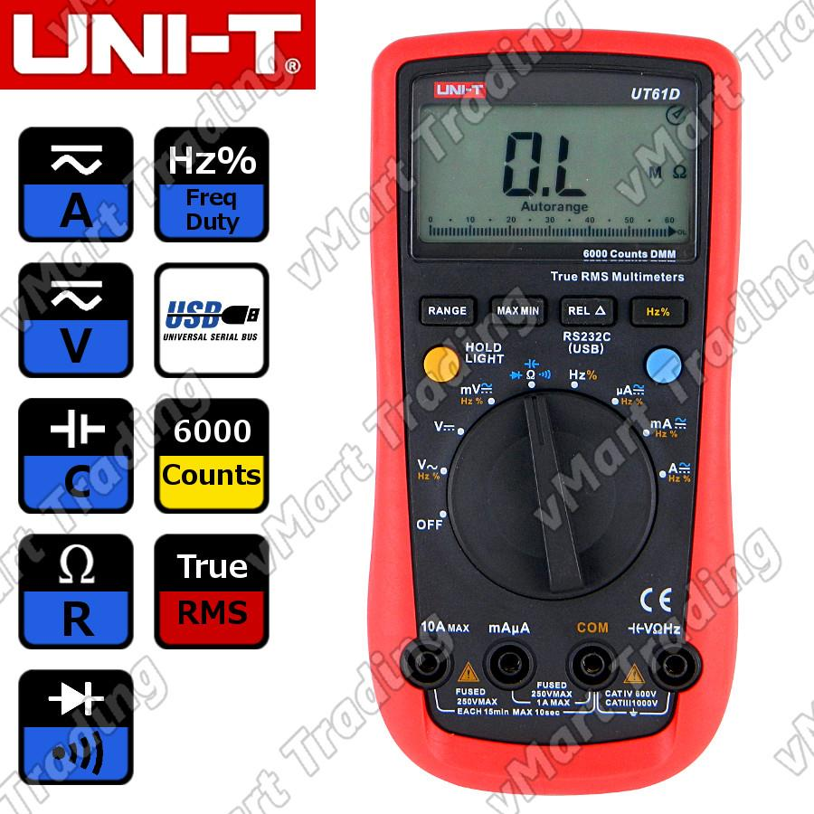 UNI-T UT61D True RMS Digital Multimeter + PC Data Logging