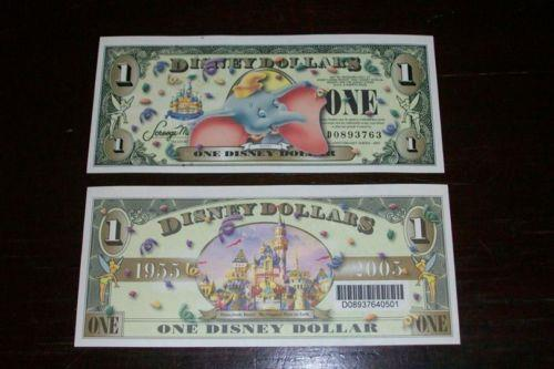 UNITED STATE 2005 DISNEY LAND DUMBO 1 ONE DOLLAR Bill UNC