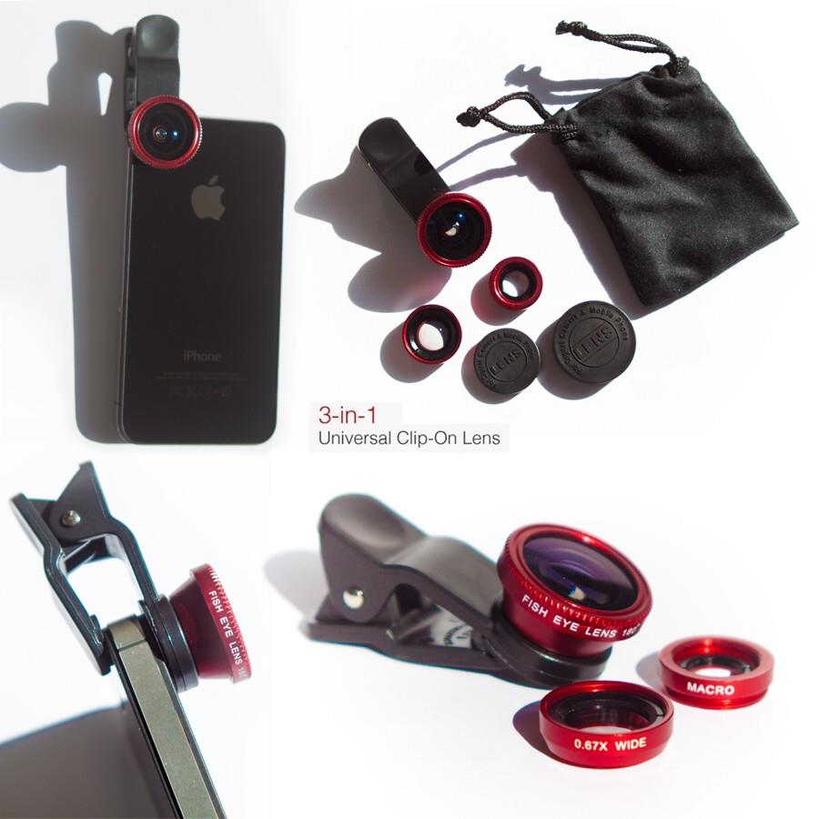 *Universal^3in1 Wide angle Macro Fisheye Clip Lens Mobile Smartphones