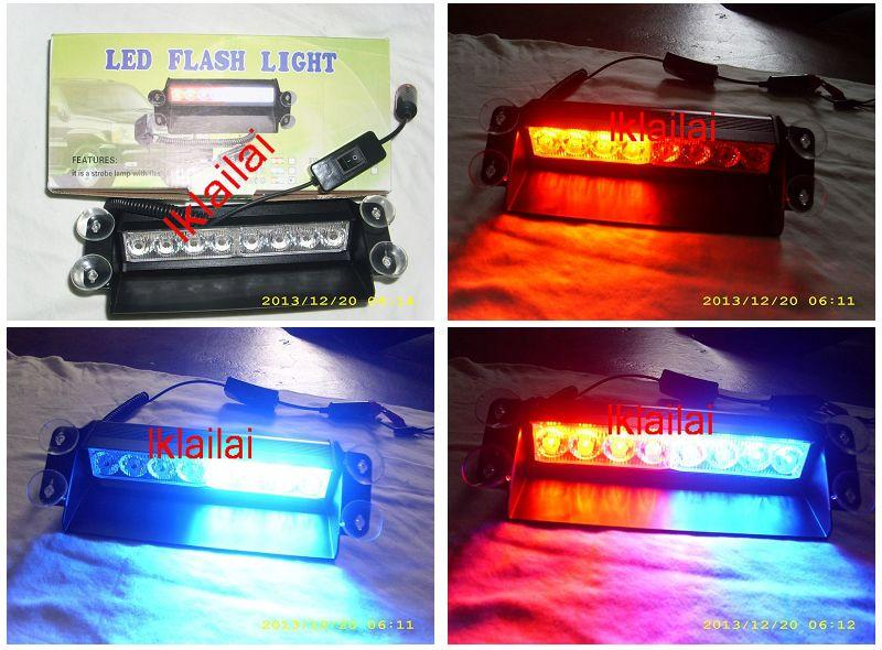 Universal 8 LED Strobe Light BLUE RED Flash Lamp