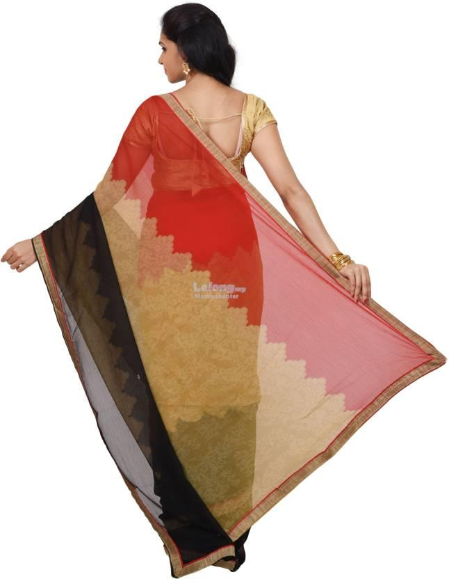 Urban Vastra Printed Fashion Chiffon Sari  (Multicolor)
