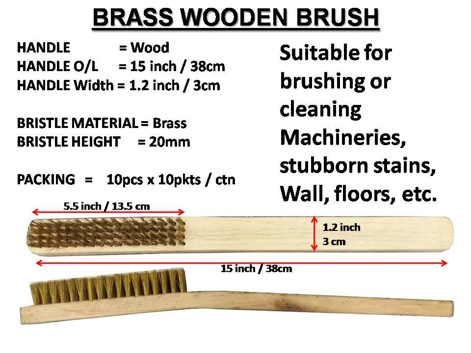 URE Wooden Handle BRASS Brush