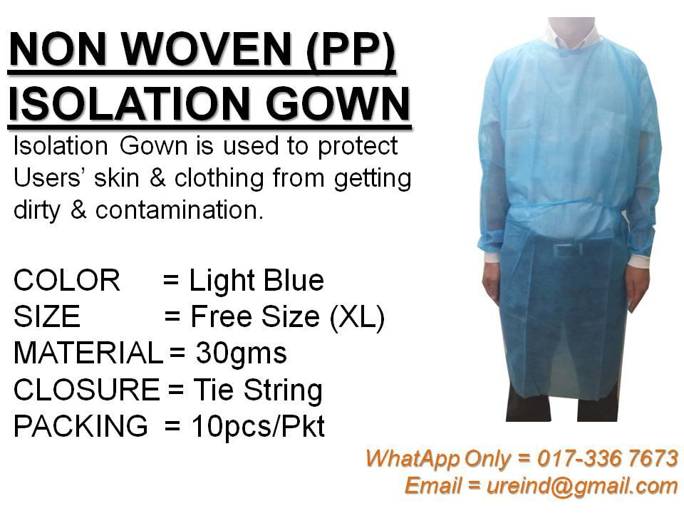 URE Non Woven (PP) Isolation Gown (FREE Pos)