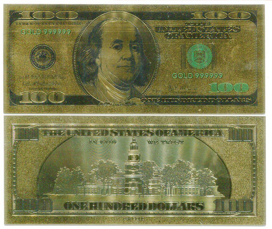 Usa 100 dollars 100 colorful 24k gold bill