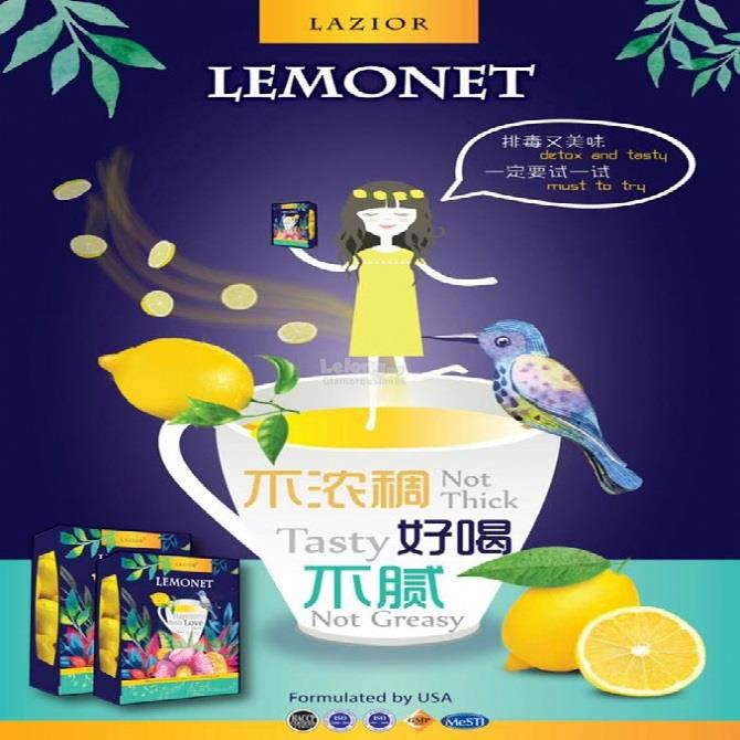 USA Formulated LEMONET by Lazior Fiber Detox Drink 15gx15