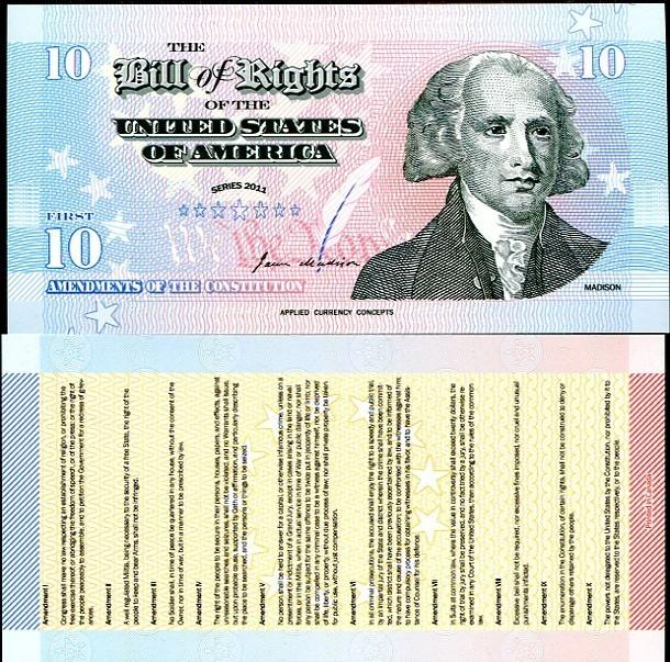 USA MADISON 2011 BILL OF RIGHTS POLYMER UNC