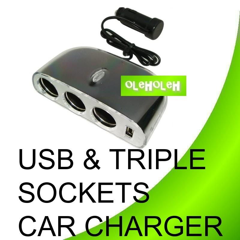 USB & 3 Port Triple Sockets Car Charger for Cell Phone/GPS/iPod/ iPad