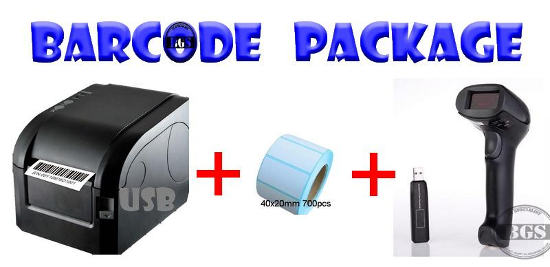 Usb Barcode printer + thermal paper + Barcode scanner (Free install)