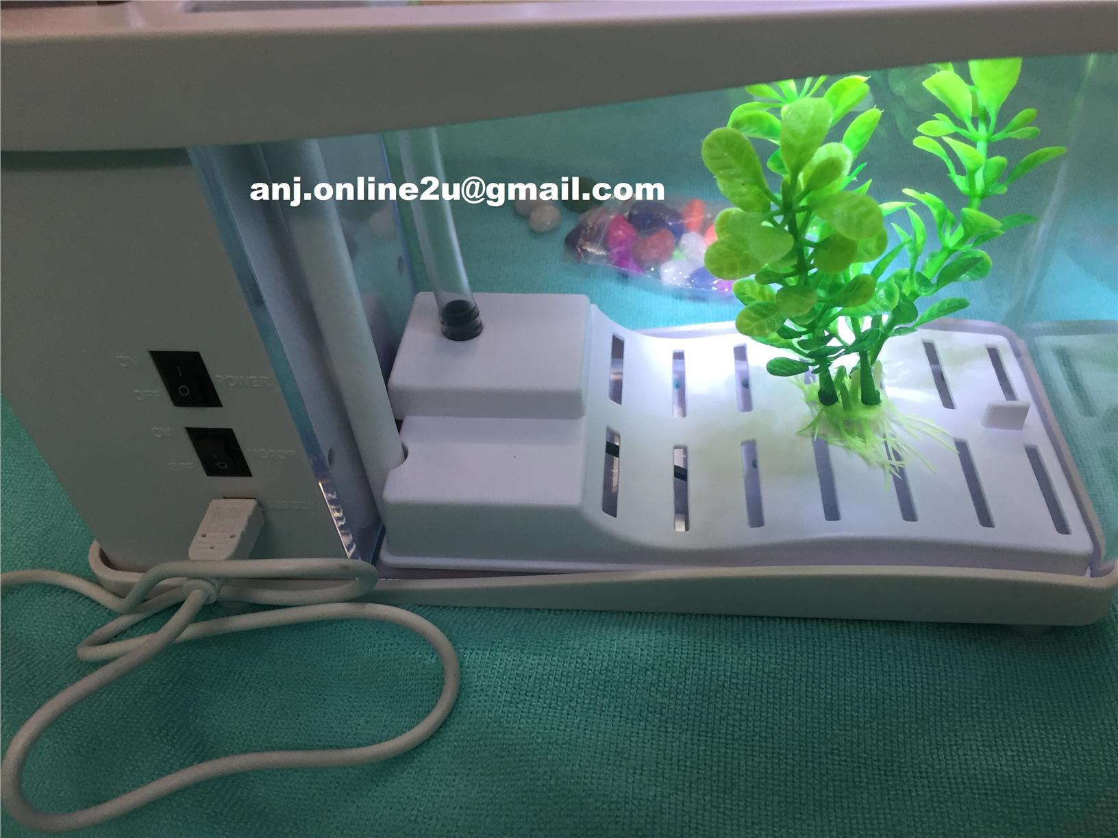 USB DESKTOP LED AQUARIUM FISH TANK STATIONARY CASE & CLOCK