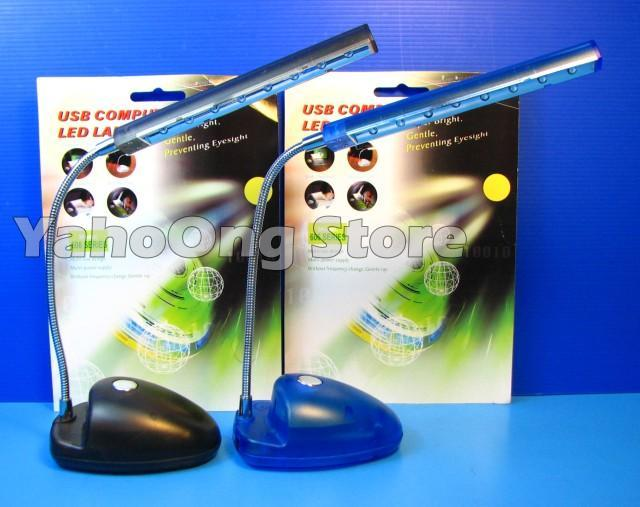 USB Desktop Super Bright 8 LED Lamp & AA Batteries Operated w stand