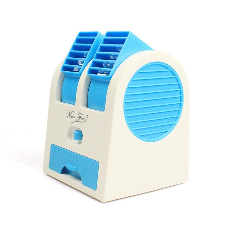 USB Fan Cooling Portable Desktop Dual Head Bladeless Air Cond (Blue)