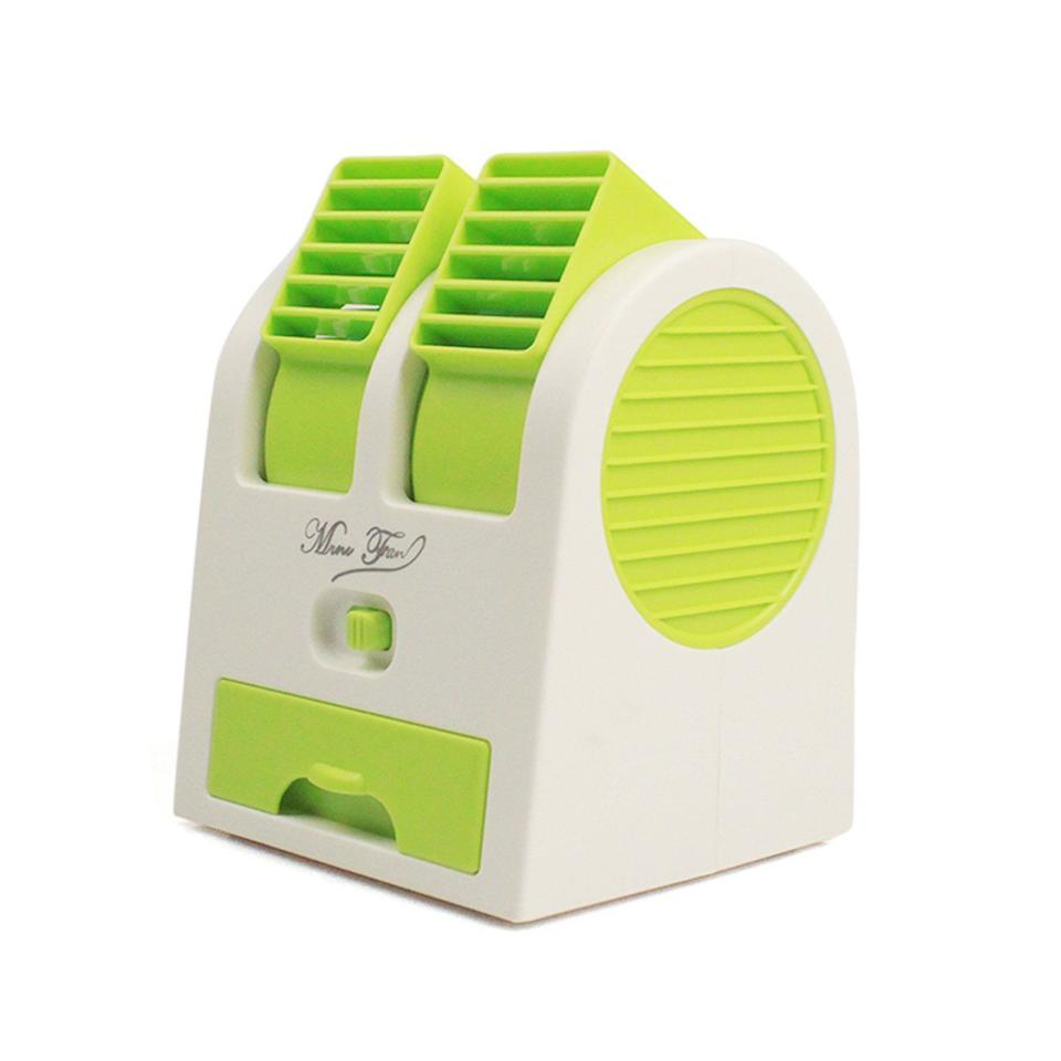 USB Fan Cooling Portable Desktop Dual Head Bladeless Air Cond (Green)