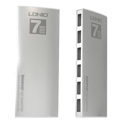 USB LDNIO 7 Port High Speed USB Hub - (Silver)