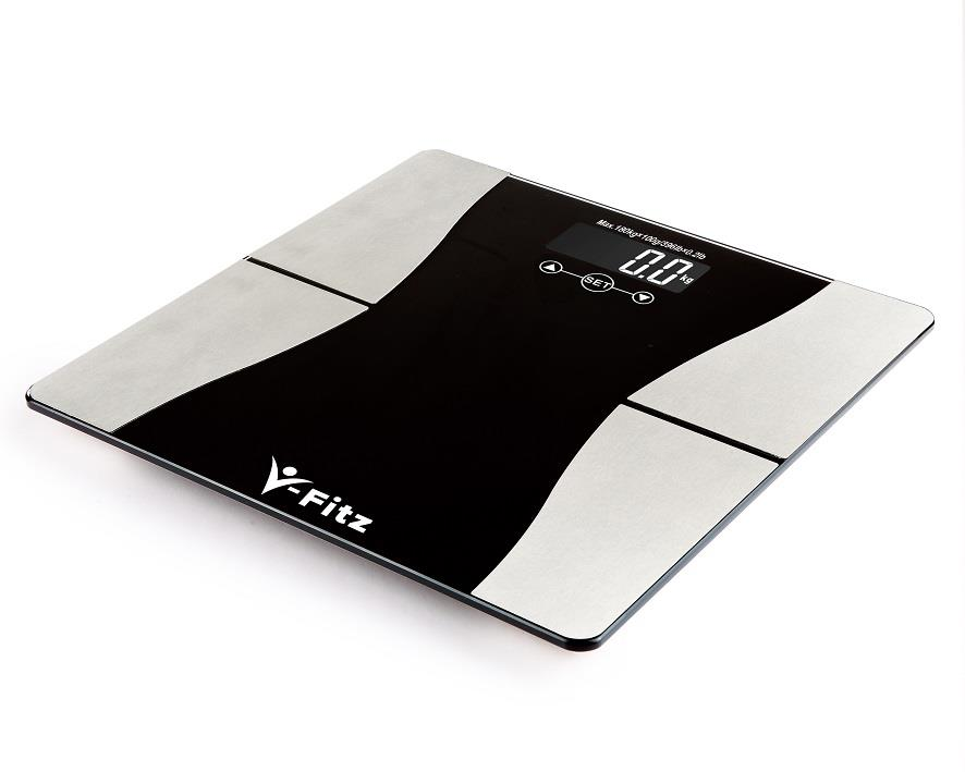 V-Fitz BMI Body Fat Scale Ultra Slim LCD Weighing Scale (Black)