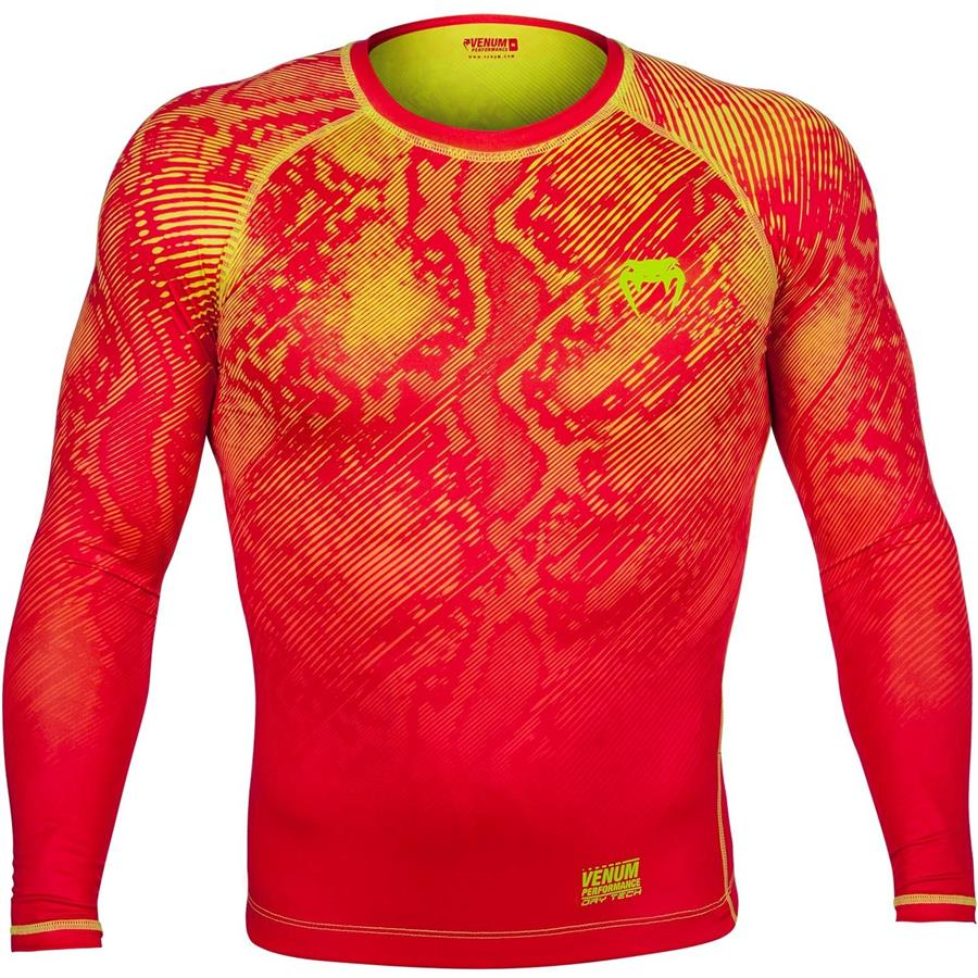 VENUM FUSION COMPRESSION T-SHIRT - LONG SLEEVES - ORANGE/YELLOW-M