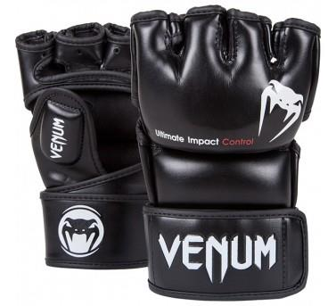 VENUM IMPACT MMA GLOVES - BLACK - SKINTEX LEATHER - MEDIUM
