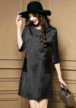 Vertical Stripes Dual Pocket Mini Dress (iKR052619)