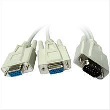 VGA/ RGB (M) TO 2x (F) Y SPLITTER CABLE 15CM, F592