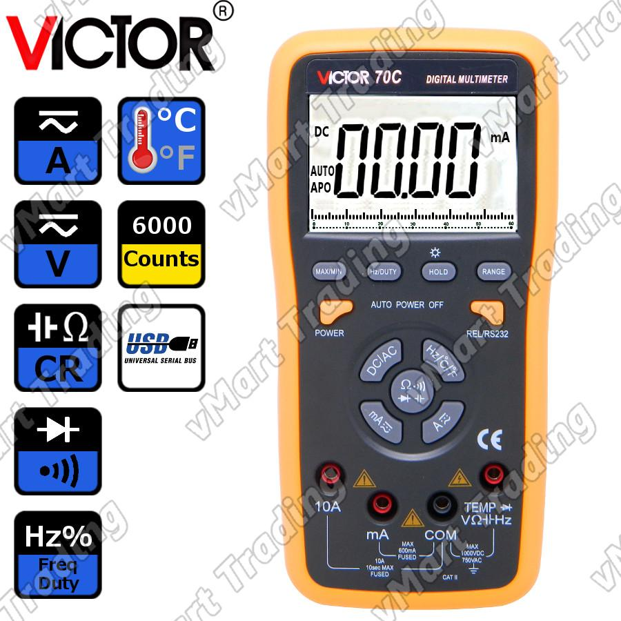 VICTOR 70C Advance Digital Multimeter with Real-time USB Data Logging